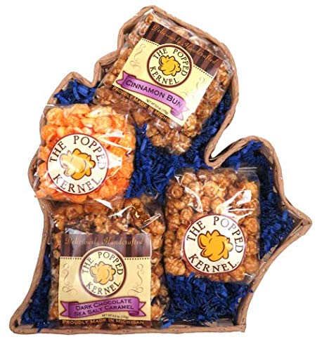 Find Discount The Popped Kernel Gourmet Popcorn - Michigan Shaped Gourmet Popcorn Gift Basket