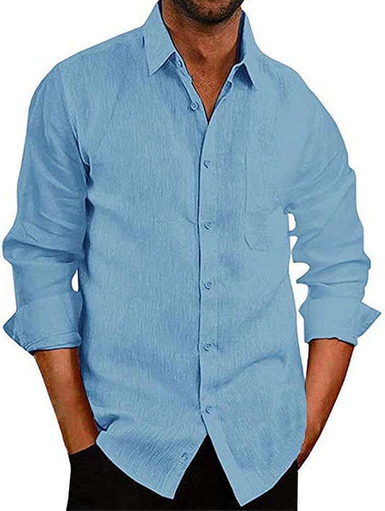 CHUANGFU Men's Cotton Linen Henley Shirt Long Sleeve Hippie Casual Beach T Shirts Lapel Solid Color Button