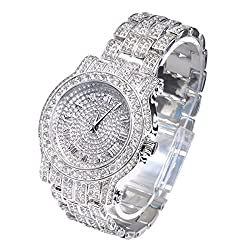 Silver Tone Heavy Bezel Case Band Simulated Diamond Watch
