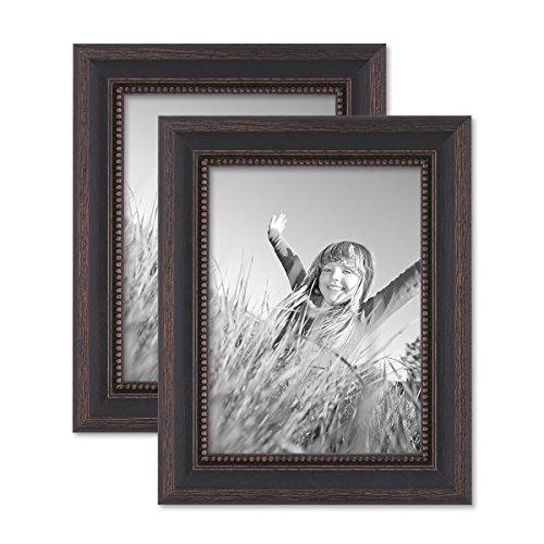 PHOTOLINI 2er Set Bilderrahmen 15x20 cm Shabby-Chic Landhaus-Stil Dunkelbraun Massivholz mit Glasscheibe und Zubehör/Fotorahmen
