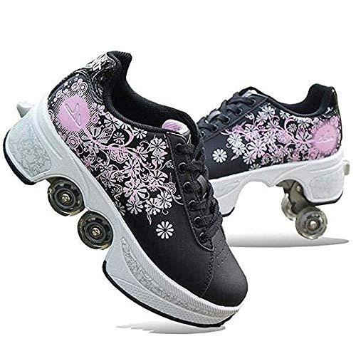 ScificWom Rollschuhe für Damen, Quad Rollschuhe für Kinder, Mädchenschuhe mit Rollen, Unisex-Schuhe mit Rollen, Rollschuhe für Erwachsene, Outdoor-Sport-Skateboards, Black Silver Powder, 38