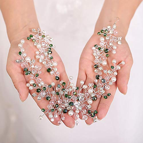 Bridal Accessories Wedding hair jewelry earring Bohemian Green Headpiece mariage Headdress hair accessories for women Wedding tiara Bridal Headband Hair accessories (Color : Headband)