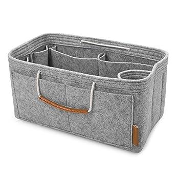 FOREGOER Felt Purse Insert Bag Organizers,Handbag Shapers with Handle for LV Speedy,Neverfull,Tote - 5 Color,3 Size Medium,Grey