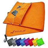 Fit-Flip Set di Asciugamani da Palestra con Scomparto a Cerniera + Clip Magnetica + Extra Asciugamano Sport – in Attesa di Brevetto Asciugamano Multifunzionale, Asciugamano in Microfibra – Arancione
