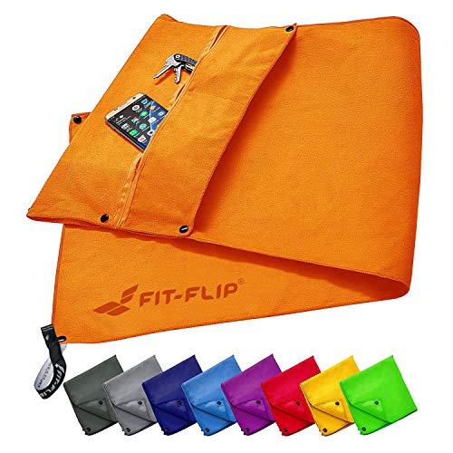 Fit-Flip Fitness Handtuch Set mit Reißverschluss Fach + Magnetclip + extra Sporthandtuch | zum Patent angemeldetes Multifunktionshandtuch, Mikrofaser Handtuch - Orange