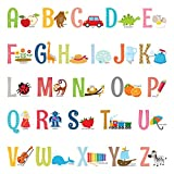 DECOWALL DS-8023 Alphabet ABC with Pictures (Small) Kids Wall Stickers Decals Peel and Stick Removable for Nursery Bedroom Living Room Art murals Decorations