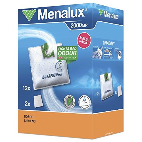 Menalux 2000 MP 12 Staubbeutel (Synthetik Staubbeutel, hohe Saugleistung & Filtration, Hygieneverschluss, Anti-Geruch, neutralisiert Gerüche, reißfest, +50% Lebensdauer, weiß)