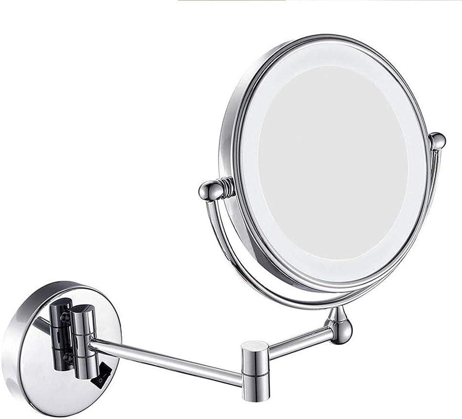 敬な分類割り当て壁に取り付けられた化粧鏡8インチ3倍の拡大鏡とLEDリングライト、360度回転デザインの両面化粧壁ミラー