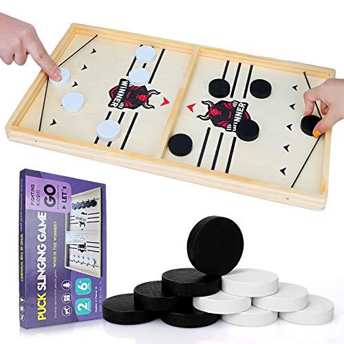 GUBOOM Brettspiel Hockey, Brettspiele Erwachsene, Spiele für Erwachsene, Schnelles Sling Puck-Spiel, Partyspiele, Hockey Spiele für 2 Personen und Familie