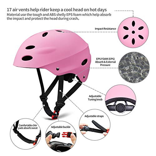 Kids Protective Gear Set, 7 in 1 Adjustable Bike Helmets for Roller Skating Skateboard BMX Scooter Cycling Age 3-8 Years Old Boys Girls (Knee Pads+Elbow Pads+Wrist Pads+Helmet)- Pink