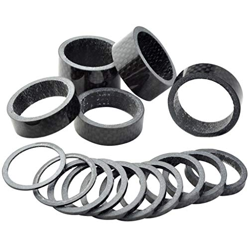 Fengek 15 Pcs Headset Spacer for Bicycle, 7 Sizes Carbon Fiber Road Bicycle Stem Headset Spacers Kit for 1-1/8 Inch Stem, 1mm 2mm 3mm 5mm 10mm 15mm 20mm