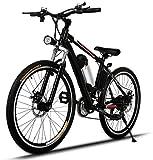 ANCHEER 26' Bicicletta Elettrica, Bici da Montagna Ebike con Batteria Rimovibile 36V / 8AH, 21 velocità Sospensione Completa Premium e Cambio Shimano (Nero)