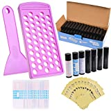 Kare & Kind Lip Balm Filling Tray Kit - 1x Filling Tray, 1x Spatula, 50x Lip Balm Tubes (Black), 50x Writable Sticker (3 colors), 50x Printed Stickers (Transparent) - DIY Homemade Lip Balm - Gift Idea