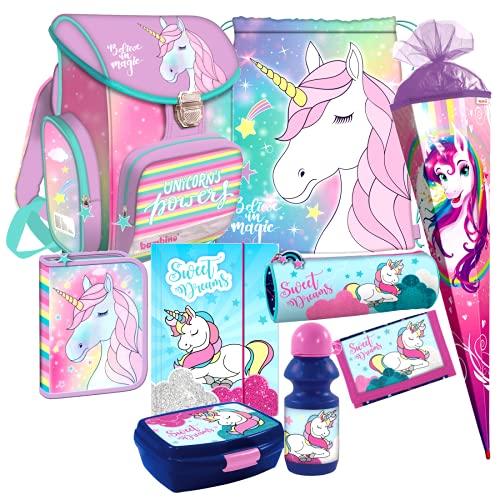 Unicorn Pferd Pony Einhorn Horse 9 Teile Set Schulranzen Tornister Ranzen Tasche inkl. Sticker von Kids4shop Federmappe Schultüte 85 cm