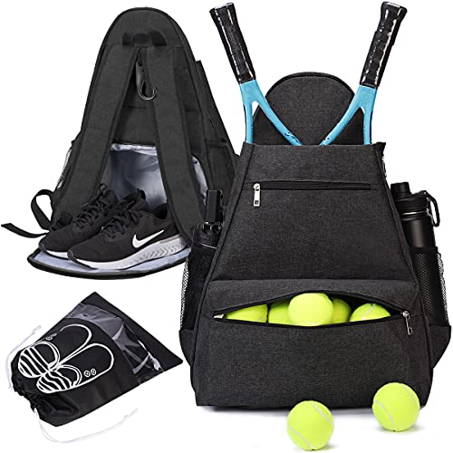 shiningwaner Tennis Bags Tennis Backpack with Shoe Compartment Shoe Bag for Men and Women, Holding Tennis/Badminton/Squash Racket, Pickleball Paddles and Other Accessories, Black
