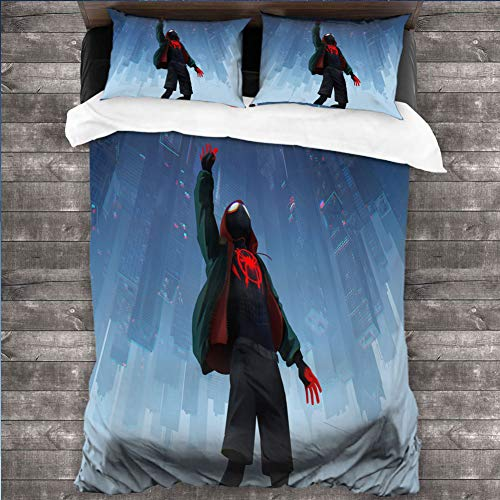 Loruoaine Three-Piece Family Bed Cover pillowcasespiderman into The Spider Verse Movie 5k puCover Bed 3pcs/Set