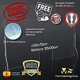 Mampara Premium 150x75cm 5mm Irrompible Protección, Fabricada en Policarbonato Compacto de Alto Impacto Vinilo Suelo Distancia de Seguridad Gratis