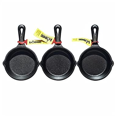 LODGE Pre-Seasoned 3.5-Inch Cast Iron Skillet Set for Side Dishes or Desserts (Set of Three)