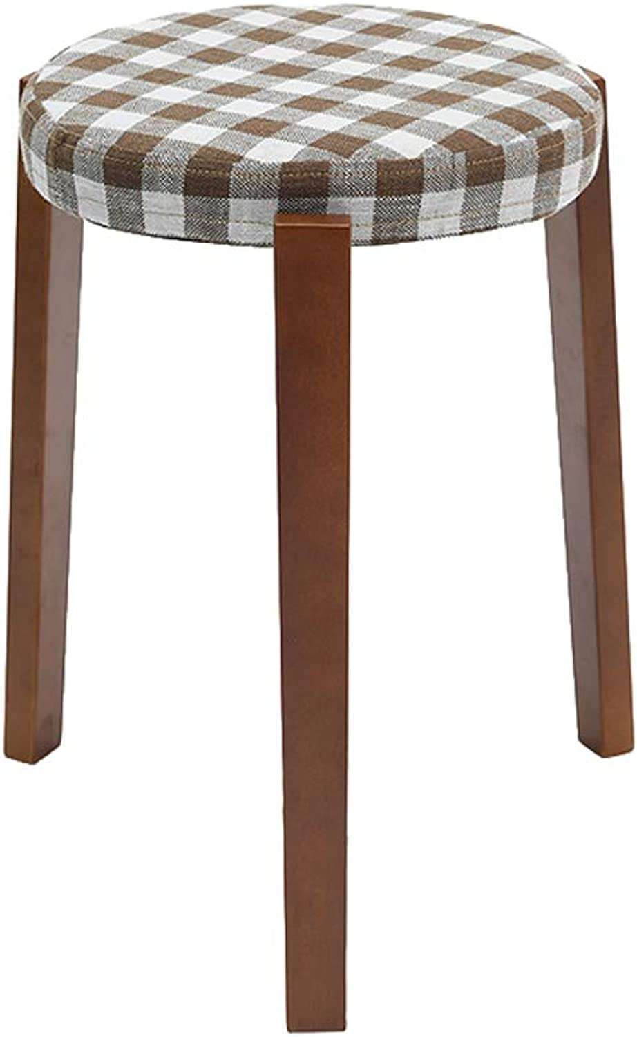 Table Stool, Bedroom Linen Cloth Solid Wood Footstools Dining Table Study Desk Dressing Bench Change shoes Stool (color   Lattice)