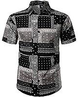 JOGAL Men's Paisley Bandana Print Hawaiian Shirt XXX-Large Black