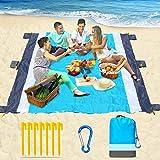 Beach Blanket-79 X 83' Sandproof Waterproof Lightweight Portable Beach Mat with 7 Plastic Floor, 210D Nylon Picnic Pocket Blanket for Park Beach Hiking Camping (Gray-Blue)