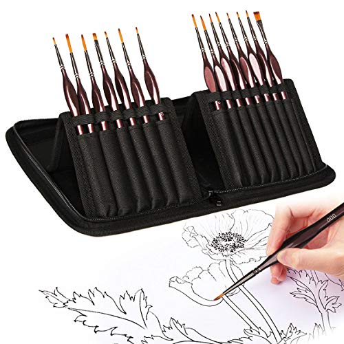 AUTOXEL Detial Paint Brushes Set Tiny Micro Miniature Artist Painting Brushes Kit for Acrylic Watercolor Craft Oil Scale Nail Model Face Painting, 15 Pcs