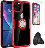 OROZLINK Bundle of 3: iPhone 11/11 Pro/11 Pro Max Case Protective Shockproof Case with 360 Degree Rotation Ring Holder Stand - 2 Tempered Glass Screen Protector - Phone Holder
