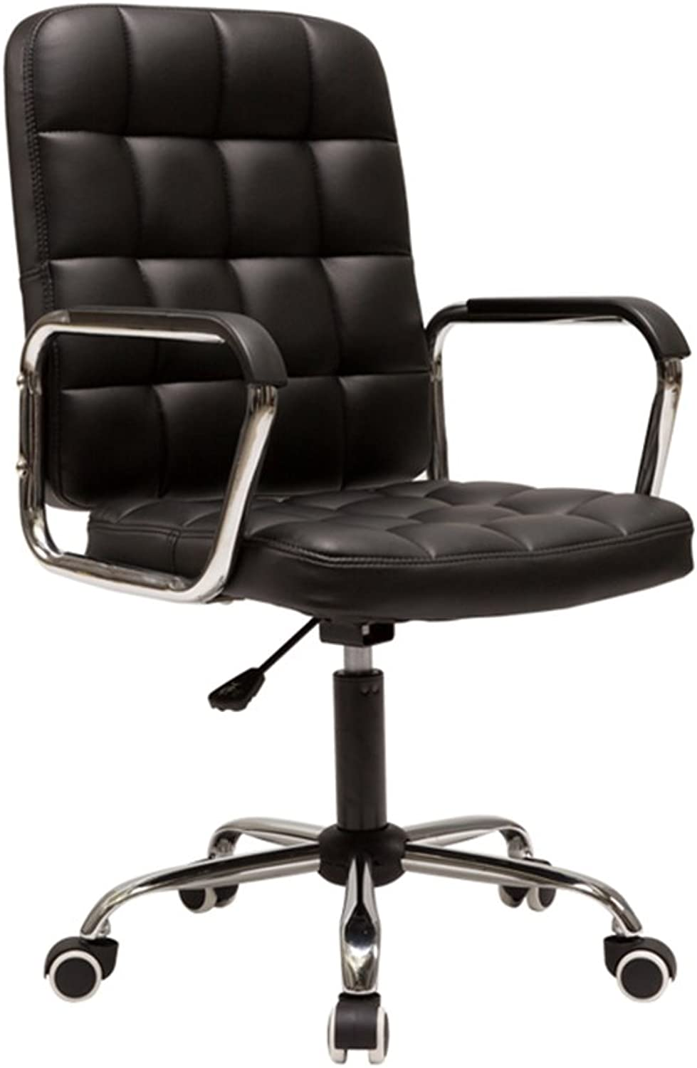 Pulley feet can be redated Office Chair Leather backrest Chair Lift 56  56  99cm (color   Black)