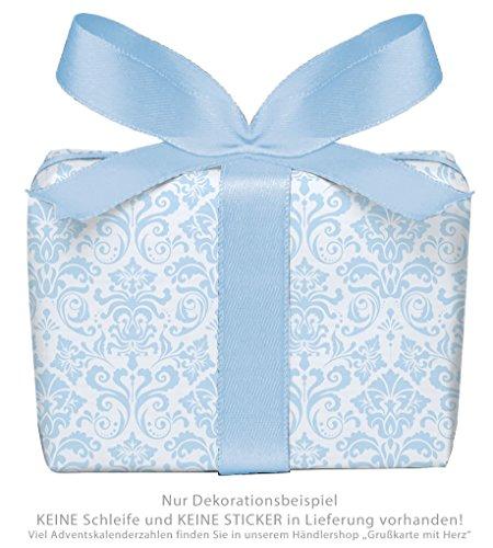 5er-Set Geschenkpapier Bögen für Kinder Kindergeburtstag Baby Geburt Taufe HELLBLAU mit ORNAMENTEN für Jung`s • Format : 50 x 70 cm