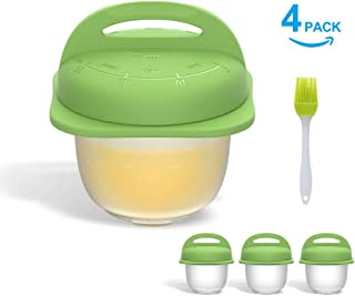 Premium Egg Cooker Cups-Easy Pop-out System - Integrated Time Instruction - Anti Flip System - Egg Cracker - Silicone Egg Poachers for Hard Boiled Eggs - Easy to Transfer - 4 Pack with 1 Brush