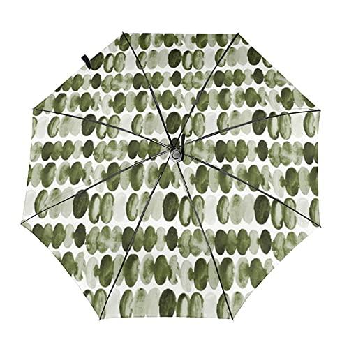自動折りたたみ傘オリーブグリーン水彩抽象楕円形サークルミスシフデザイン防風、防水、耐紫外線性があり、晴れや雨の日に適していますユニセックス。