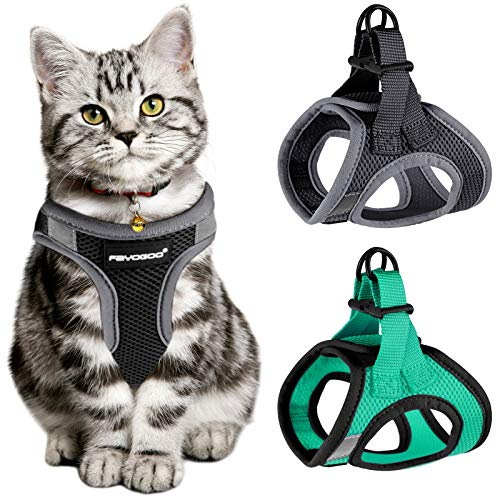 Cat Harness for Walking Escape Proof 2 Pack, Lightweight Kitten Harness, Lifetime Replacement, Easy Control Breathable Cat Vest with Reflective Strip (No Leash)