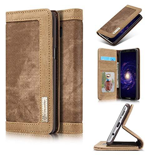 Mr Super Deal Für LG Q6 Braun Tasche Jeans Leder Synthetisch Hülle Hülle Cover Etui Wallet Schutzhülle + Bildschirmfolien