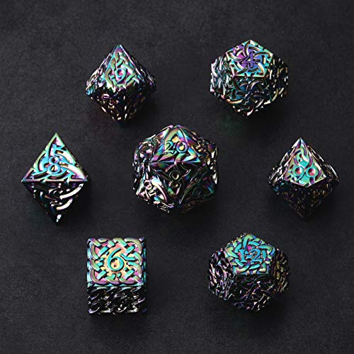 Rainbow Endless Chaos Dice 7 Piece Polyhedral Metal Dice Set with Celtic Knots Extra Heavy Extra Large for DND Dungeons and Dragons Call of Cthulhu Pathfinder Tabletop RPG Dice Bard Sorcerer Dice