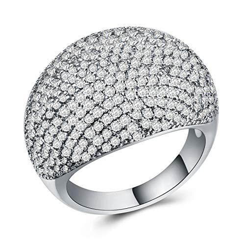 minjiSF Anillo ancho de diamante para mujer, anillo clásico de alta calidad, exquisito, retro, joya de compromiso, anillo de boda, aniversario, regalo (plata, 7)