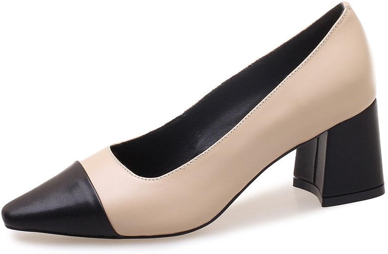 Nine Seven Genuine Leather Women's Cap Toe-Mid Chunky Heel-Slip On Handmade Two Tone Women Pump shoes