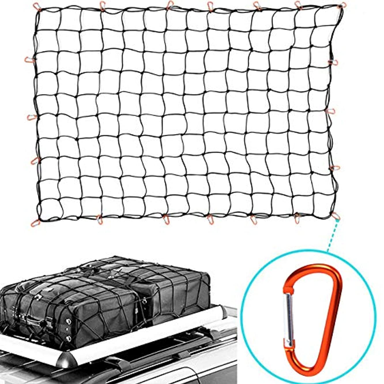 "HQAP 5'x7' Super Duty Bungee Cargo Net for Truck Bed Stretches to 10'x14' | 12 Tangle-Free D Clip Carabiners | Small 3""x3"" Mesh Holds Small and Large Loads Tighter (5ft×7ft)"