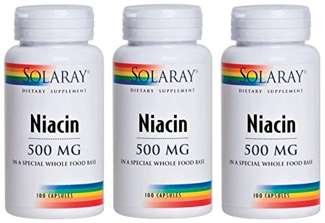 途方もない苦い資格SOLARAY(ソラレー), Niacin(ナイアシン - ビタミンB3) 500 MG 100カプセル(3個セット) [海外直送品] [並行輸入品]
