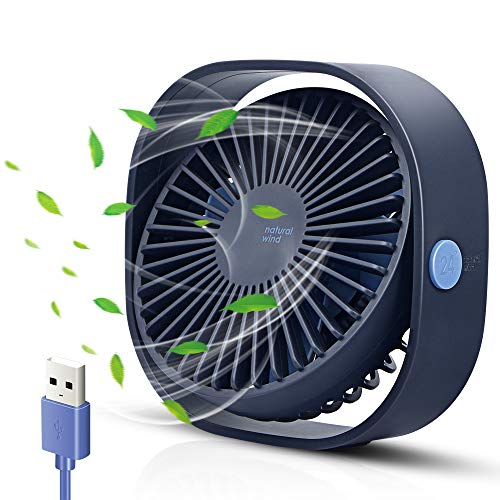 opamoo Ventilador USB Mini Ventilador de Mesa Rotación 360º 3 Velocidades Potente Portátil Ventilador Silencioso para Hogar, Coche, Oficina, Viajes, Camping - Alimentado por USB