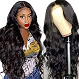 13X4 Body Wave Lace Front Wigs Human Hair Wigs for Black Women Glueless Lace Frontal Wigs Pre Plucked Bleached Knots 150% Density Brazilian Virgin Human Hair Wigs Natural Color (20 Inch )