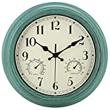 Amotpo Retro Indoor/Outdoor Waterproof Wall Clock with Thermometer and Hygrometer Combo,12 Inch Silent Non Ticking Quartz Battery Operated Clock Wall Decorative,Green
