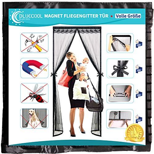 Bluecool Magnet Fliegengitter TüR 170x260cm Fliegengitter TüR Insektenschutz Mit Gewichteten StöCken für Schlafzimmer Kinderzimmer Belastbarkeit,Schwarz