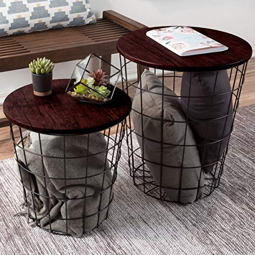 Lavish Home Nesting End Tables with Storage (Cherry)