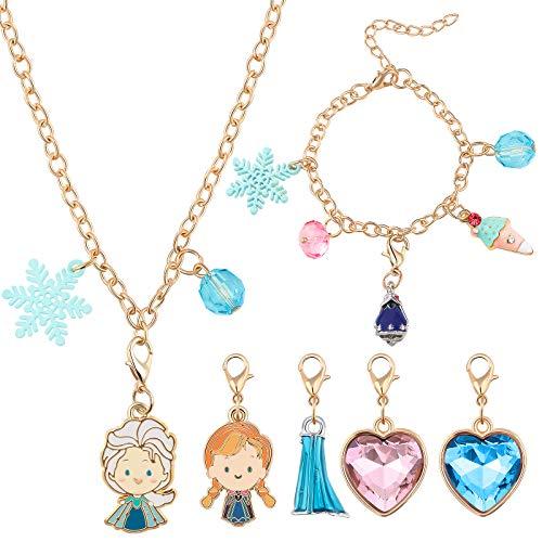 Tacobear Frozen Hacer Pulsera Collar Kit de Fabricación de Pulsera Collar DIY Joyería Elsa Anna Encantos Creación Regalos Manualidades Princesa Joyería Kit para Niñas