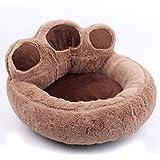 LA VIE Haustierbett Süßes Pfotenform Hundesofa Hundebett Weiches Hundekissen Comfort Hundematte Baumwoll-Bett für Kleiner Mittlerer Hunde Katzen Braun S