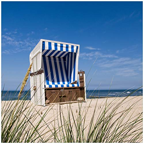 Wallario Glasbild Strandkorb - 50 x 50 cm in Premium-Qualität: Brillante Farben, freischwebende Optik