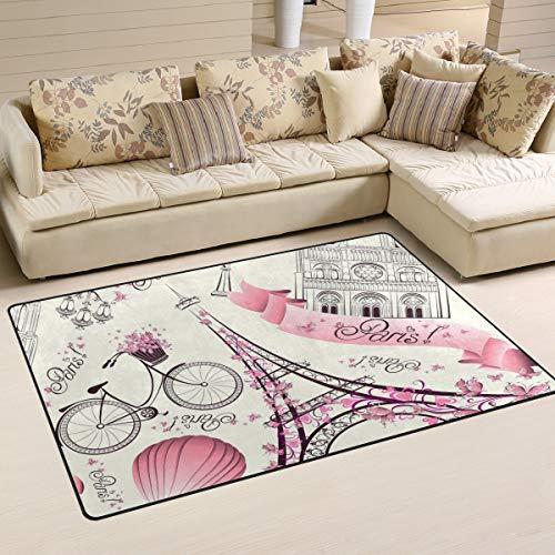 Linomo Area Rug Pink Flower Paris Eiffel Tower Floor Rugs Doormat Living Room Home Decor, Carpets Area Mats for Kids Boys Girls Bedroom 31 x 20 Inches