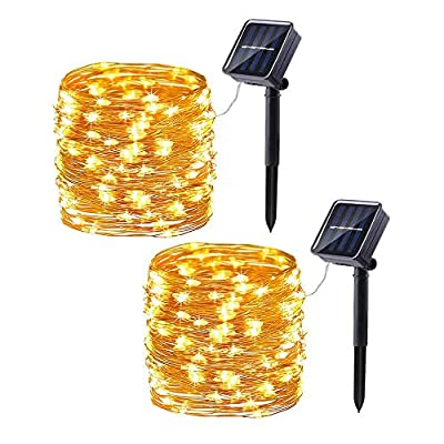 2 Pack Solar String Lights, 33ft 100LED 8 Modes Copper Wire Outdoor String Lights, Waterproof Solar Fairy Lights Rope Lights for Patio, Garden, Yard, Party, Wedding, Tree Decorations (Warm White)