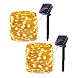 Joomer 2 Pack Solar String Lights, 33ft 100LED 8 Modes Copper Wire Waterproof Solar Fairy Lights Rope Lights for Patio, Garden, Yard, Party, Wedding, Tree Decorations (Warm White)