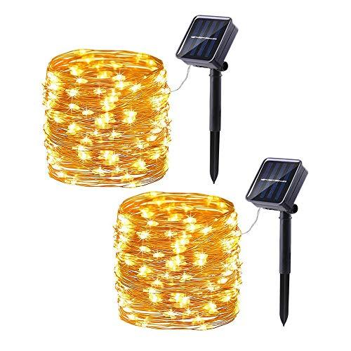 Guirnalda Luces Exterior Solar, Joomer Cadena de Luces 10Metros 100 LED, 8 Modos de Luz, Decoración para Navidad, Fiestas, Bodas, Patio, Dormitorio Jardines, Festivales, etc (Blanco Cálido)
